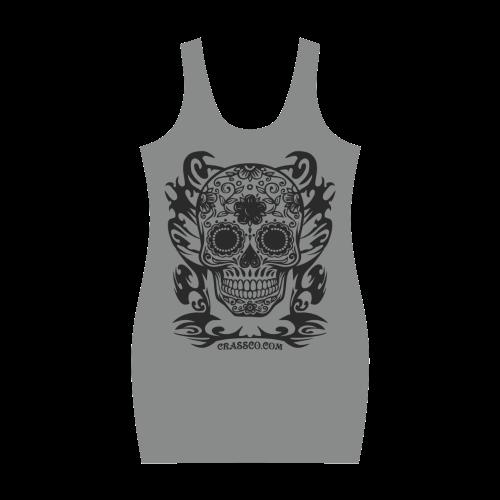 Skull Flowers Grey Medea Vest Dress (Model D06)