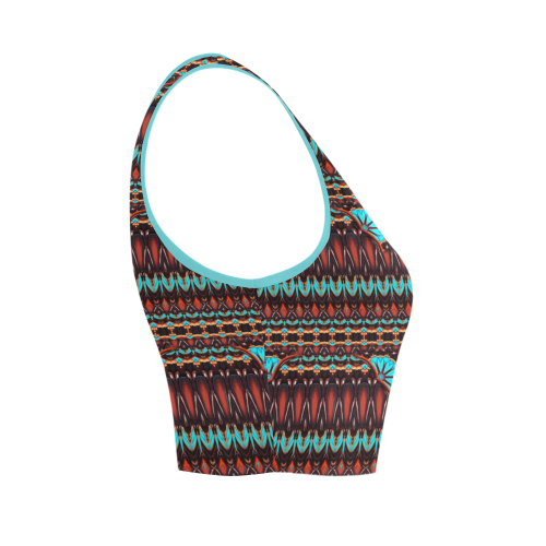 K172 Wood and Turquoise Abstract Pattern Women's Crop Top (Model T42)