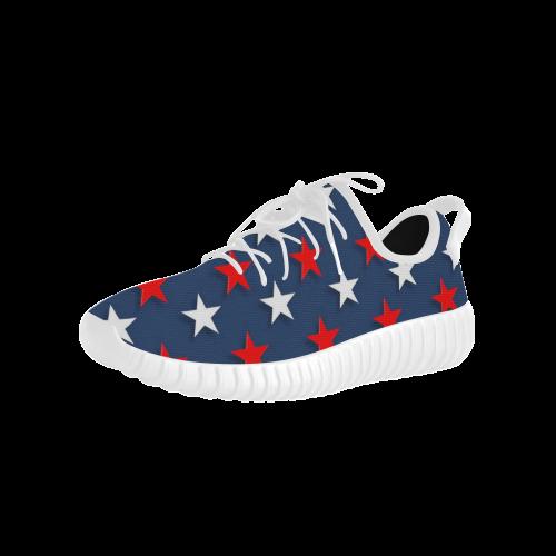 Navy Red White Stars Grus Women's Breathable Woven Running Shoes (Model 022)