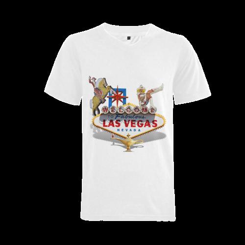 Las Vegas Welcome Sign Men's V-Neck T-shirt (USA Size) (Model T10)
