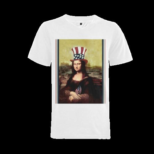 Patriotic Mona Lisa - 4th of July Men's V-Neck T-shirt (USA Size) (Model T10)
