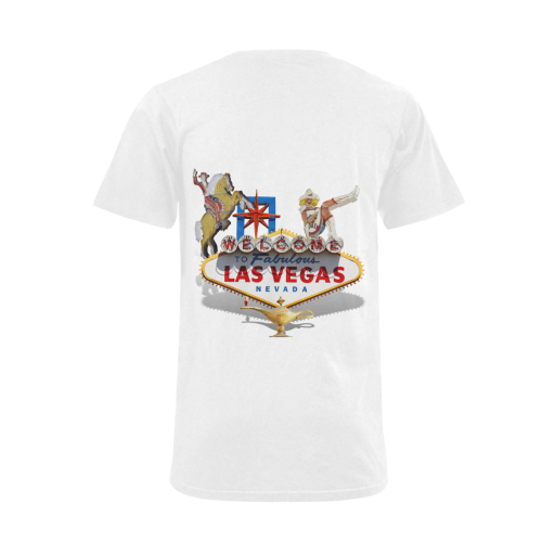 Las Vegas Welcome Sign Men's V-Neck T-shirt  Big Size(USA Size) (Model T10)