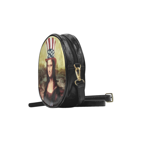 Patriotic Mona Lisa - 4th of July Round Sling Bag (Model 1647)