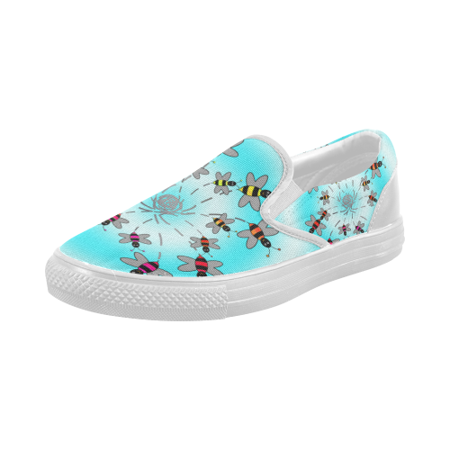 swirling rainbow bees s slip on canvas shoes model