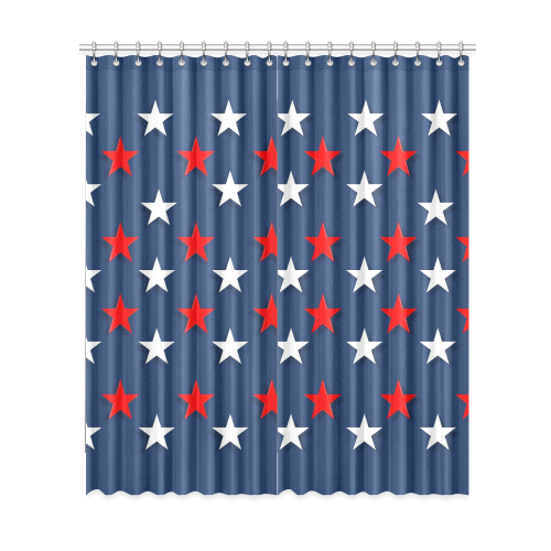 "Navy Red White Stars Window Curtain 52""x120""(Two Piece)"