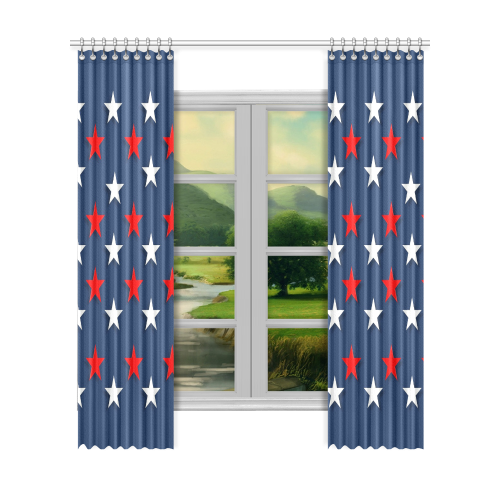 """Navy Red White Stars Window Curtain 52""""x120""""(Two Piece)"""