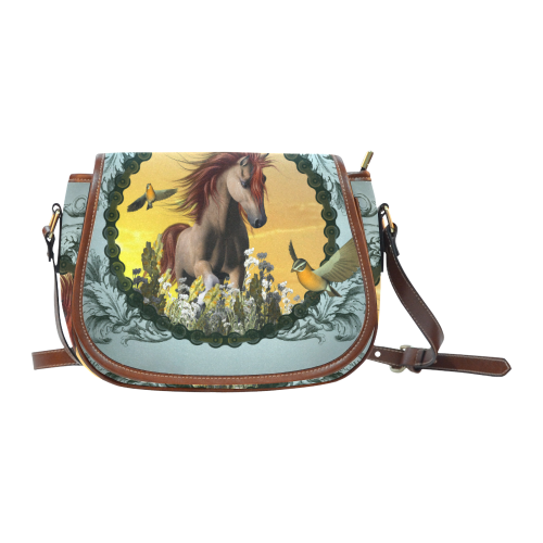 Horse with birds Saddle Bag/Small (Model 1649) Full Customization