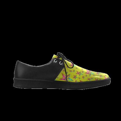 Flower Power Stars Brogue Lace Up Men's Shoes (Model 024