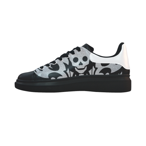 SKULL SILVER LUXURY Low Top Loafers Womens Shoes (Model 026)
