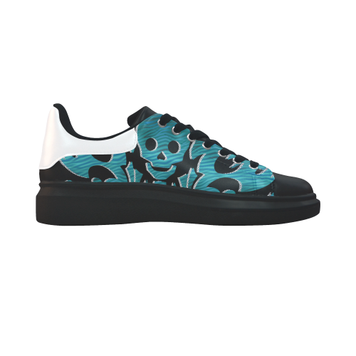 SKULL turquoise Low Top Loafers Womens Shoes (Model 026)