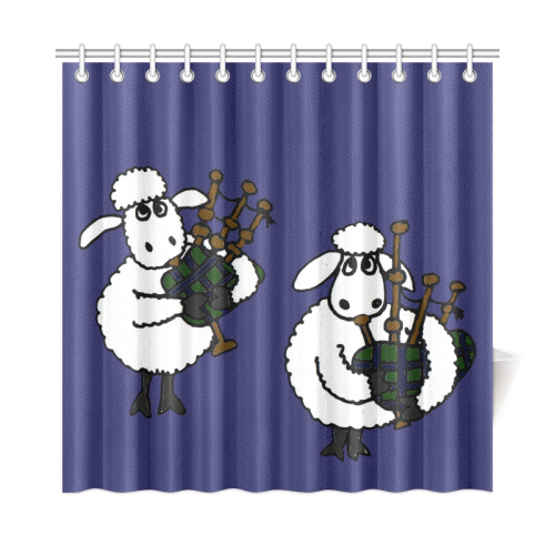 Funny Sheep Playing Bagpipes Shower Curtain 72x72