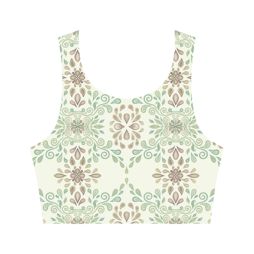 Green ornaments Women's Crop Top (Model T42)