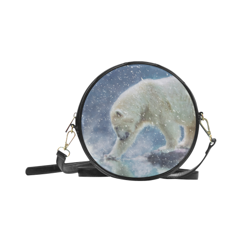 A polar bear at the water Round Sling Bag (Model 1647)