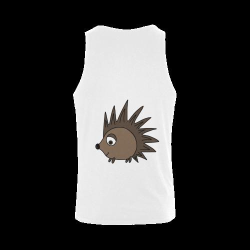 Cute Cartoon Hedgehog Plus-size Men's Shoulder-Free Tank Top (Model T33)