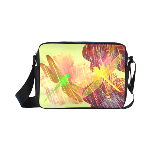 Dragonflies & Flowers Summer Classic Cross-body Nylon Bags (Model 1632)