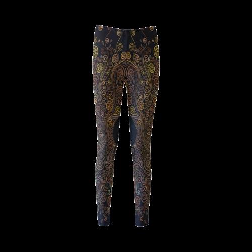 Psychedelic 3D gold Cassandra Women's Leggings (Model L01)