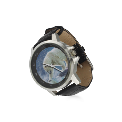 A polar bear at the water Unisex Stainless Steel Leather Strap Watch(Model 202)