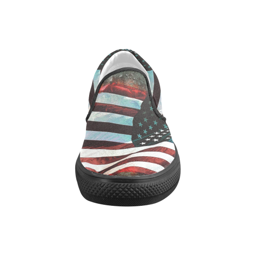 A abstract waving usa flag Men's Slip-on Canvas Shoes (Model 019)