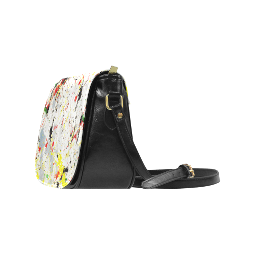 Yellow & Black Paint Splatter Classic Saddle Bag/Small (Model 1648)