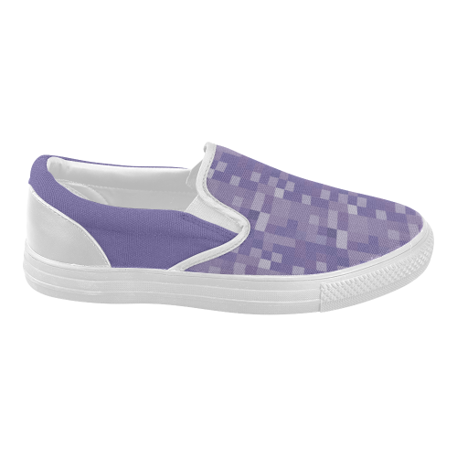 purple check and solid s slip on canvas shoes model
