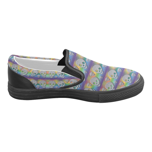 Skulls Multicolor Men's Slip-on Canvas Shoes (Model 019)