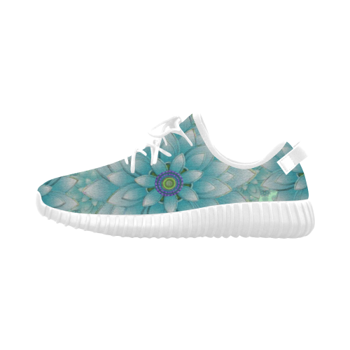 Turquoise Happy Lotus Grus Women's Breathable Woven Running Shoes (Model 022)