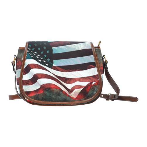 A abstract waving usa flag Saddle Bag/Small (Model 1649) Full Customization