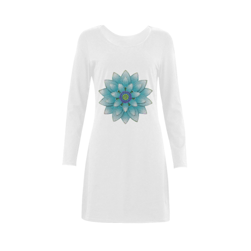 Turquoise Lotus Demeter Long Sleeve Nightdress (Model D03)