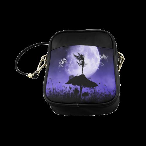 A beautiful fairy dancing on a mushroom silhouette Sling Bag (Model 1627)