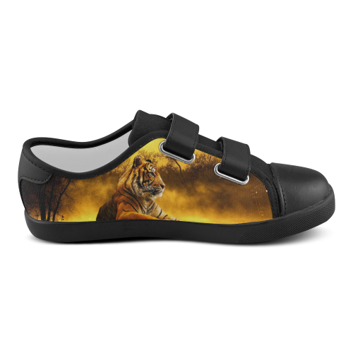 Tiger and Sunset Velcro Canvas Kid's Shoes (Model 008)
