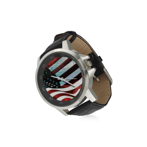 A abstract waving usa flag Unisex Stainless Steel Leather Strap Watch(Model 202)
