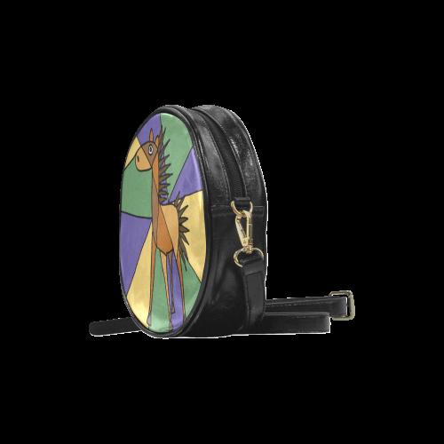 Cool Folk Art Horse Round Sling Bag (Model 1647)