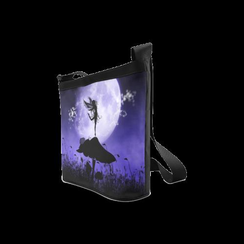 A beautiful fairy dancing on a mushroom silhouette Crossbody Bags (Model 1613)