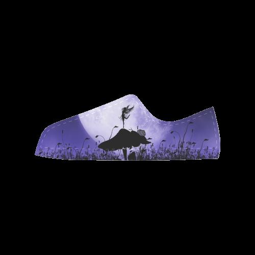 A beautiful fairy dancing on a mushroom silhouette Aquila Microfiber Leather Women's Shoes (Model 028)