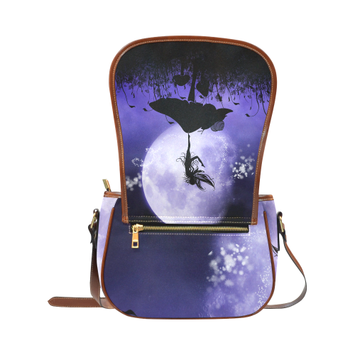 A beautiful fairy dancing on a mushroom silhouette Saddle Bag/Small (Model 1649) Full Customization