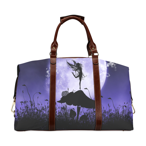 A beautiful fairy dancing on a mushroom silhouette Classic Travel Bag (Model 1643)