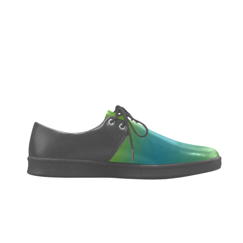 green and blue abstract Brogue Lace Up Men's shoes (Model 024)