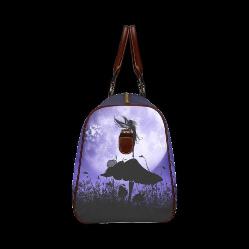 A beautiful fairy dancing on a mushroom silhouette Waterproof Travel Bag/Large (Model 1639)