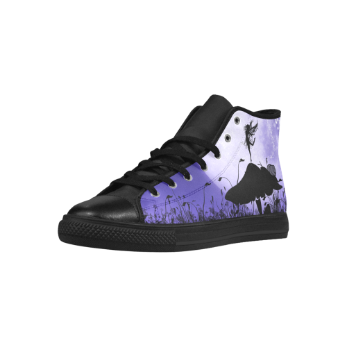 A beautiful fairy dancing on a mushroom silhouette Aquila High Top Microfiber Leather Women's Shoes (Model 027)