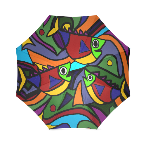 Funny Artistic Fish Abstract Art Foldable Umbrella
