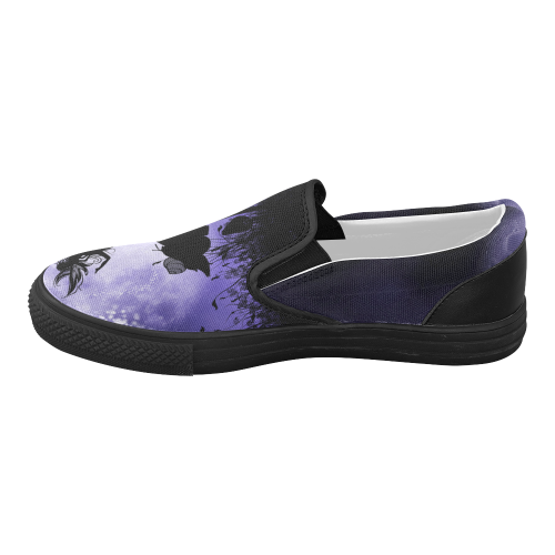 A beautiful fairy dancing on a mushroom silhouette Women's Slip-on Canvas Shoes (Model 019)