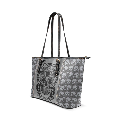SKULLS LUXURY Leather Tote Bag/Small (Model 1640)