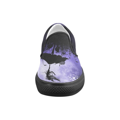 A beautiful fairy dancing on a mushroom silhouette Women's Unusual Slip-on Canvas Shoes (Model 019)