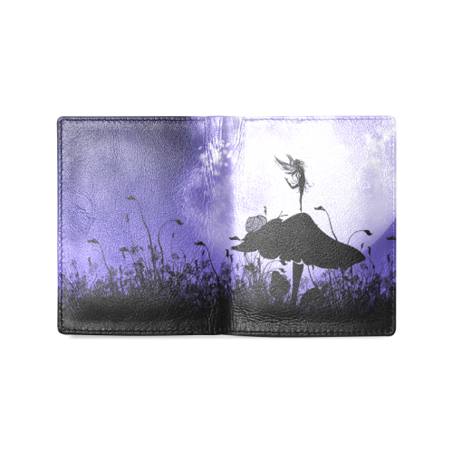 A beautiful fairy dancing on a mushroom silhouette Men's Leather Wallet (Model 1612)