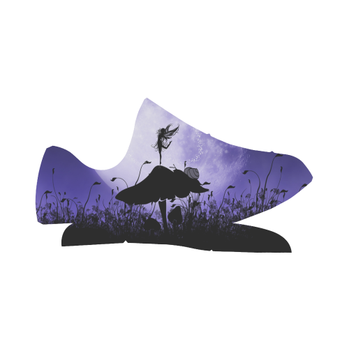 A beautiful fairy dancing on a mushroom silhouette Grus Women's Breathable Woven Running Shoes (Model 022)