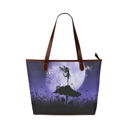 A beautiful fairy dancing on a mushroom silhouette Shoulder Tote Bag (Model 1646)
