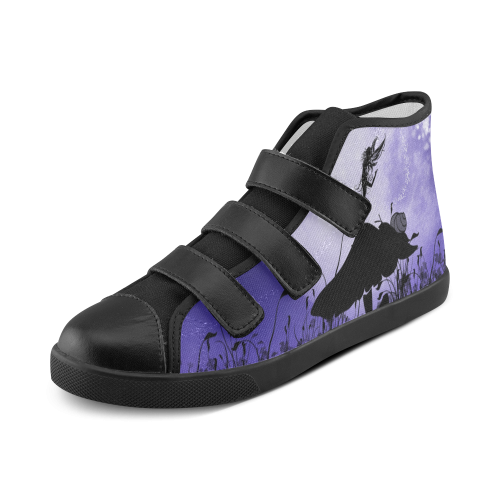 A beautiful fairy dancing on a mushroom silhouette Velcro High Top Canvas Kid's Shoes (Model 015)