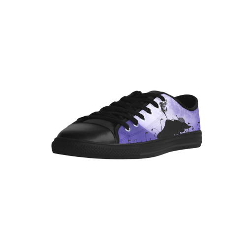 A beautiful fairy dancing on a mushroom silhouette Aquila Microfiber Leather Women's Shoes (Model 028)