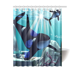 "Awesome orca Shower Curtain 60""x72"" 