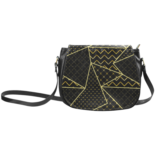 Golden Quilted Pattern Classic Saddle Bag/Large (Model 1648)